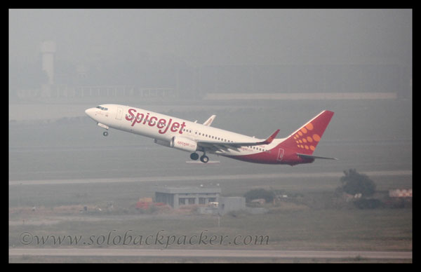Spice Jet Flight Departing From Delhi Airport