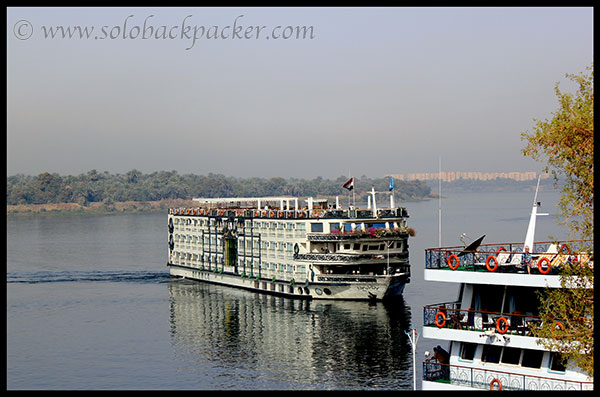 A Nile Cruise Docking Near Kom Ombo Temple