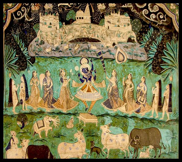 Krishna Holding Govardhan Hill in a painting @ Chitrashala