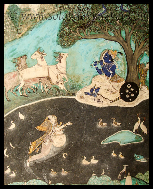 Krishna Playing Flute in a painting