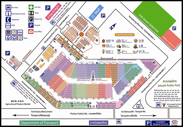 Map of Chatuchak Weekend Market, Bangkok