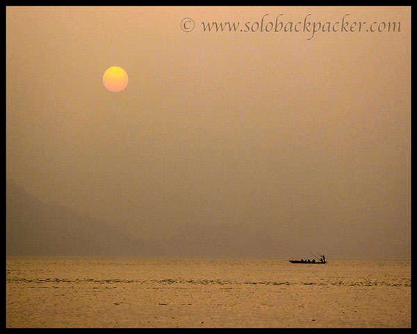 Sunset on the bank of Brahmaputra River