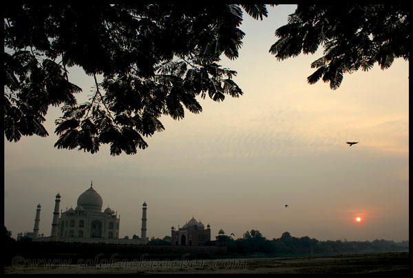 Sunset From Mehtab Bagh, behind Taj Mahal in Agra