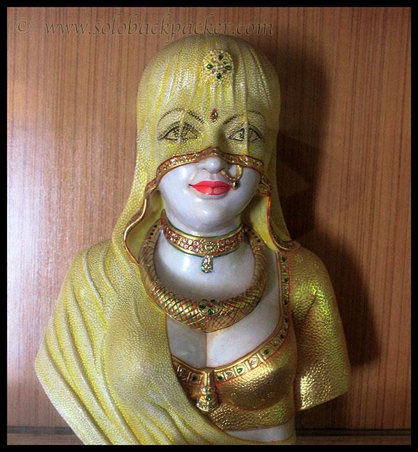 A marble statue representing the Pardah System in Podar Haveli, Nawalgarh