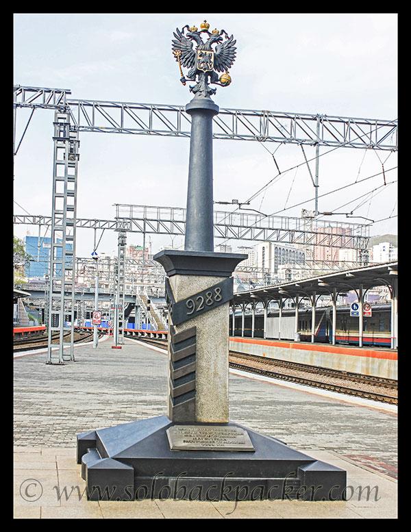 9288 Kms Marker at Vladivostok Railway Station