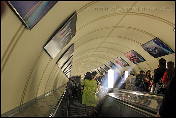 Escalator at Oktyabrskaya Metro Station