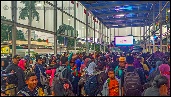 Crowd Outside Pasar Senen Station in Jakarta
