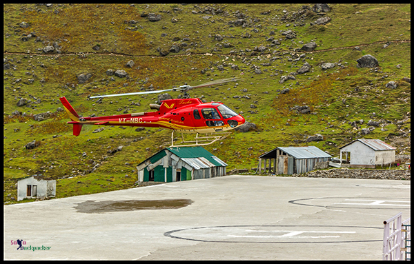 One Helicopter Landing at Kedarnath Helipad