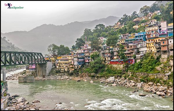 View of Karnaprayag Town on the bank of Pindar River